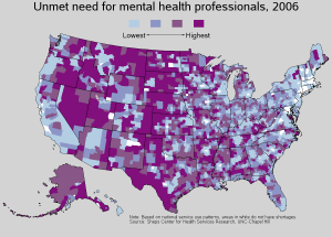 map of mental health shortage in US
