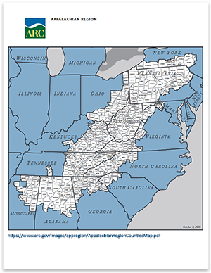 Appalachian Regional Commission map of ARC counties